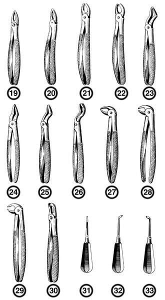 Инструменты для хирургической стоматологии. . Щипцы для удаления зубов вер